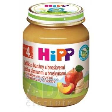 HiPP Príkrm 100% Ovocie Jablká, banány a broskyne